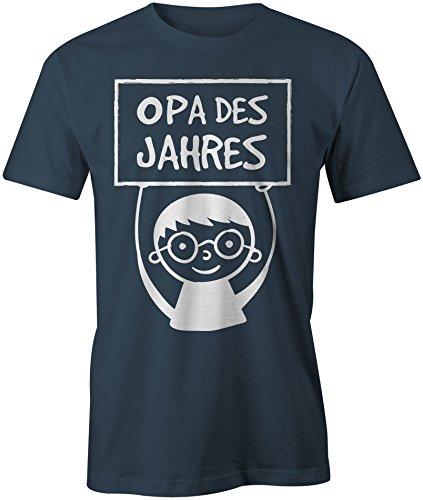 Opa des Jahres ★ Rundhals-T-Shirt Männer-Herren ★ hochwertig bedruckt mit lustigem Spruch ★ Die perfekte Geschenk-Idee (03) dunkelblau