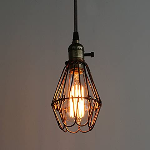 Pathson Industrial Retro Metal Bird Cage Hanging Light Loft Bar Pendant Ceiling Light Lamp Fixture Chandelier (1 pendant light,