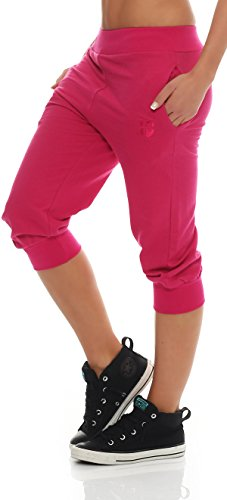 Gennadi Hoppe Damen 3/4 Trainingshose Sporthose Kurze Hose Sport Fitness Jogginghose Shorts Barmuda, pink,L