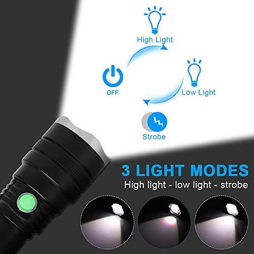 Linterna LED -  FAGORY Táctica Militar Ultra Potente de 2000 Lúmenes Con 3 Modos de Brillo Ajustables,  Zoom y Revestimiento Impermeable para Camping y Senderismo (Batería y Cargador USB Incluido)