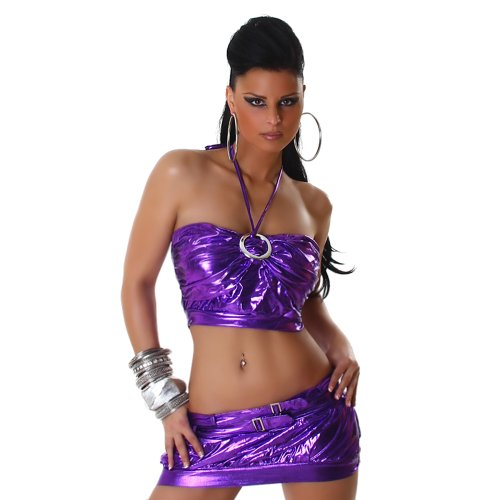 Sexy GoGo Set Rock + Top im Leder-Optik Wet-Look Einheitsgr. 32-36 Lila