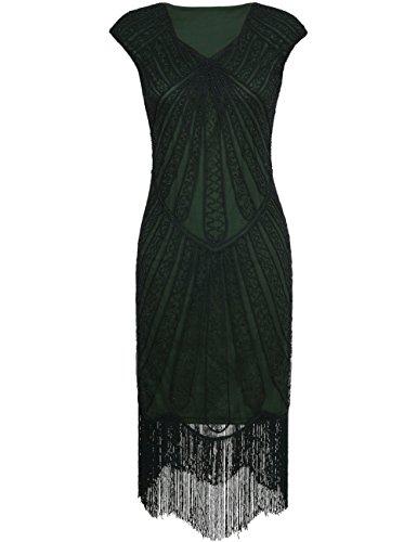 Kayamiya Damen Retro 1920er Jahre Inspirert Perlen Art Deco Franse Flapper Kleid XL (Gatsby Kleider)