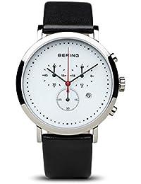 52c8389b5a61 Bering Classic - Reloj cronógrafo de caballero de cuarzo con correa de piel  negra - sumergible
