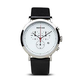 Bering Classic – Reloj cronógrafo de caballero de cuarzo con correa de piel negra – sumergible a 50 metros