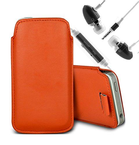 Brun/Brown - Microsoft Lumia 638 Housse deuxième peau et étui de protection en cuir PU de qualité supérieure à cordon avec stylet tactile par Gadget Giant® Orange & Ear Phone