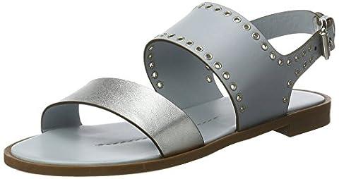Shoe Biz, Sandales Compensées Femme, Bleu (Light Blue Silver Leather), 38 EU