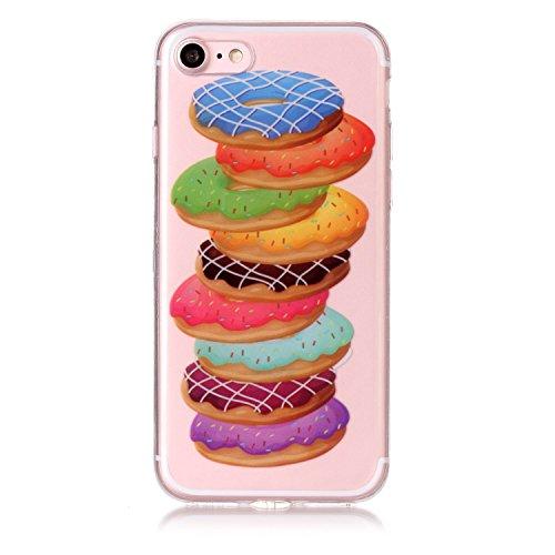 Cover iPhone 7 Spiritsun Case iPhone 8 Custodia Moda Ultraslim Trasparente Soft TPU Case Handy Cover High Quality Case Elegante Souple Flessibile Liscio Copertura Perfetta Protezione Shell Morbido Sil Donuts