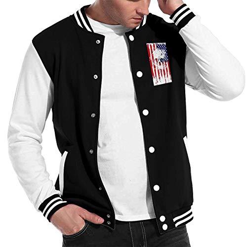 Love Lambert Mode Unisex Baseballuniform Jacke Sport Mantel American Flag Schädel Herren Damen Erwachsenen Sweatshirt Outwear (Coat Olive Green Pea)