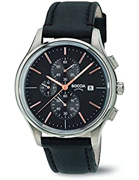 Boccia Herren-Armbanduhr Chronograph Quarz Leder 3756-02