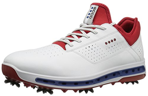 Ecco Men's Cool, Chaussures de Golf Homme, Blanc (White / Red), 41 EU