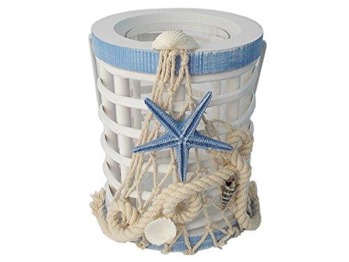 Unbekannt Maritime Laterne aus Holz mit Glaseinsatz und Muscheln Blau Weiß