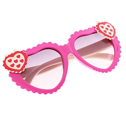 MagiDeal Kinder Mädchen Polarisierte Sonnenbrille Herzbrille Partybrille 100% UV400 Schutz Gläser - Rot Weiß