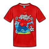 Spreadshirt Benjamin Blümchen Fußballer Kinder Premium T-Shirt, 122/128 (6 Jahre), Rot