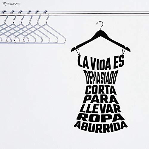 zqyjhkou Spanische Kleidung Zitate Vinyl Wandaufkleber Dame Umkleidekabine Fashion Shop Kleiderschrank Aufkleber Mädchen Zimmer Möbel Fenster Wandbild H544 30x57 cm