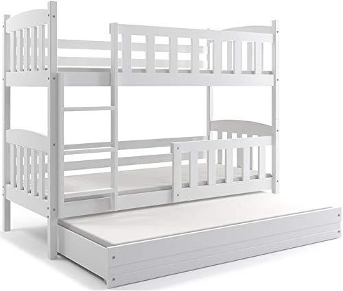 Letto triplo giacomino 200x90, lettino a castello con terzo letto estraibile per bambini e ragazzi, cameretta ragazzi, materassi di gommapiuma in omaggio (bianco)
