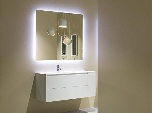 Mobile Bad Antonio Wölfe flache Mobile mit Waschbecken 126cm und Spiegel mit LED flache