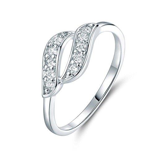 Vorra Fashion doppia fila di zirconia cubica, taglio rotondo in argento Sterling 925placcato platino anello di nozze, Argento, 12,5, colore: White, cod. ghjk - 5 Row Band Ring