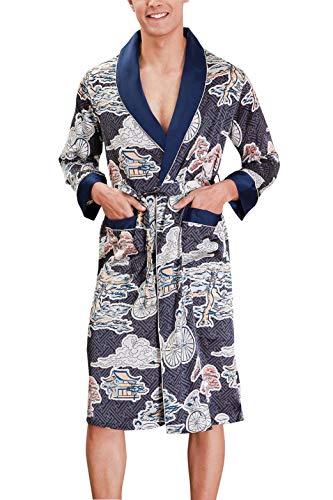 Feoya Satin Morgenmantel Herren Kimono Sommer Bademantel Mann Lang Japanisch Kimono Herren Kostüm Nachthemd Nachtwäsche Herren Satin XXL - Japanische Kostüm Männer