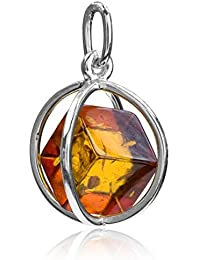 Amber Sterling Silver Millennium Collection Contemporary Spherical Cube Charm Pendant