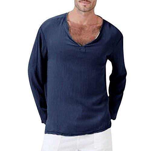 DNOQN Running Shirt Herren T Shirt Lange ärmel Herren Sommer T-Shirt Solide Thai Hippie Shirt V-Ausschnitt Strand Yoga Top Bluse 2XL