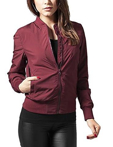 Urban Classics - Ladies Light Bomber Jacket - Blouson Femme -Rouge (burgundy 606) - 38 (Taille Fabricant: S)