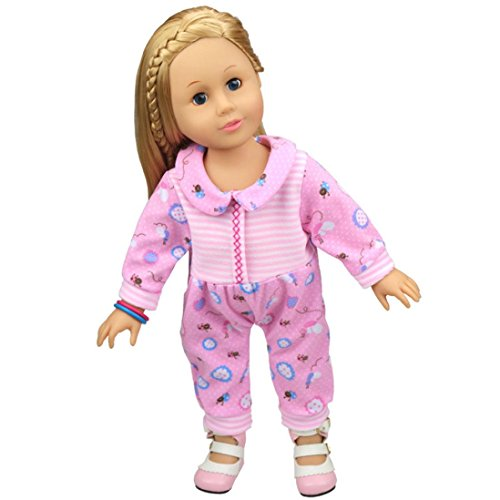 American Puppe Kleidung Sets Outfits Schlafanzüge, American Puppen Kleidung und Zubehör 45,7cm vneirw, rose (American Doll Gymnastik-outfit)