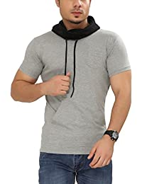 Tees Collection Men's Cotton Half Sleeve Grey Color Hooded T-Shirt