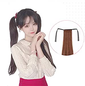 2pcs Ponytail Wig Tie up-Long Straight Hair Extension