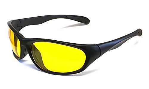 Nachtsichtbrille Auto Fahren Matt Scharwz, Gelben Gläser Nachtsicht Brille Sonnenbrille + Fall und Tuch