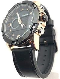 EXACTIME Reloj Analógico Digital Cronómetro Esfera en Negro Detalles Bronce Pulsera Negra Hombre Acero Inoxidable Water