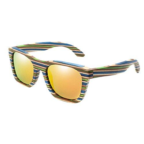 Fenteer Bambus-Sonnenbrille - polarisiert & UV400 - verschiede Farben u verspiegelte Gläser, Damen, Herren, Unisex - Holz, UV-Schutz - Orange