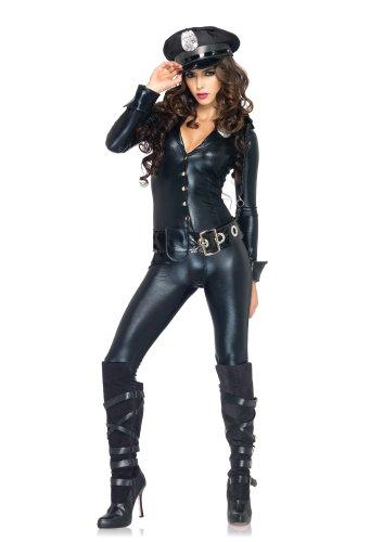 Leg Avenue 83912 - Officer Payne Kostüm, Größe M, schwarz (Lame Kostüme)