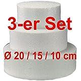 EPS-Zuschnitte rund, 3-er Set, Ø 20 / 15 / 10 cm, Styropor