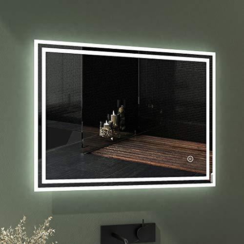EMKE LED Badspiegel 80x60cm Badspiegel mit Beleuchtung kaltweiß Lichtspiegel Badezimmerspiegel Wandspiegel mit Touchschalter IP44 energiesparend