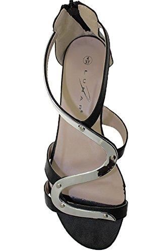 ZAFFIRO BOUTIQUE JLH807 Andie Donna Metallizzato Spalline Tacco Basso Con zip Gladiatore Sandali Scarpe Nero