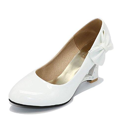Pumps 4 Farben Weiß Creme Pink Schwarz Keil Hochzeit High Heels Schuhe Brautschuhe Braut Damenschuhe (40 wie (39), Weiß)