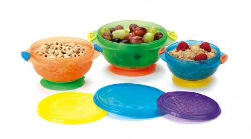 Permanently Attached Munchkin Three Convenient Sizes Stay Put 3-Pack Suction Bowl – 3 Pack 41qu Zj2x6L