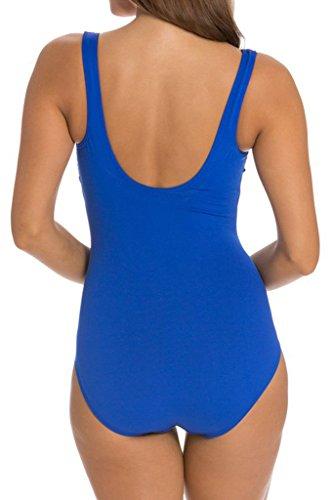 Cokar Damen Sport Badeanzug Sportlicher Schwimmanzug Sportbadeanzug Figurformend One Piece Swimsuit Blau
