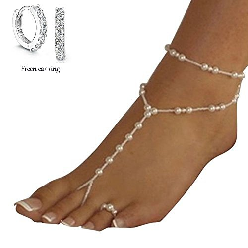 Fulltime(TM) Womens Beach Imitation Pearl Barefoot Sandal Foot Jewelry Anklet Chain