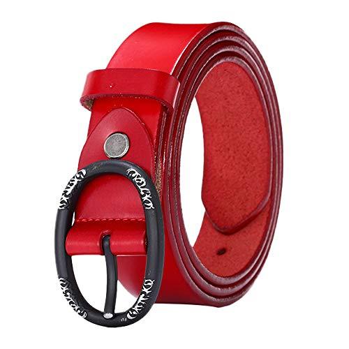 SO-buts Frauen Gürtel,Einfarbig lässig breiter Gürtel,Luxuriöser Gürtelschnallengürtel aus Leder, 108 X3.3 cm,Damen Leder Gürtel Gürtel mit Gürtelschnalle (Rot)