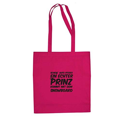Ein echter Prinz kommt mit dem Snowboard - Stofftasche / Beutel, Farbe: pink