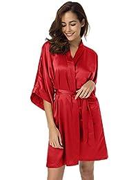 653fb4729f SIORO Womens Dressing Gown-Silk Satin Ladies Bathrobe