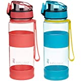 Amazon Brand - Solimo Sports Water Bottles, 470 ml, Set of 2 (Red, Blue)