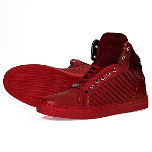 Herren High Top Sneaker 1022 Stripes Schuhe Fashion Schwarz Rot Blau Weiß 40-44 Rot