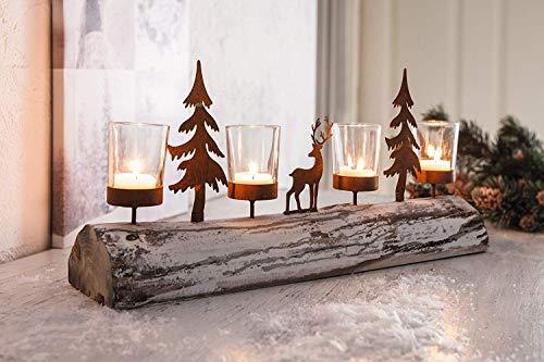Dekoleidenschaft Lichterboard aus Holz mit 4 Glas-Windlichtern, Tannenbäumen und Rentier aus Metall in Rost-Optik, Teelichthalter