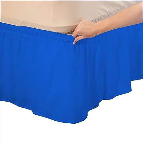 RoyalLinens EU King Ikea 600TC 100% Egyptian Cotton Royal Blue Solid Elegant Finish 1PCs Wrap Around Bedskirt Solid (Drop Length: 17 inches)