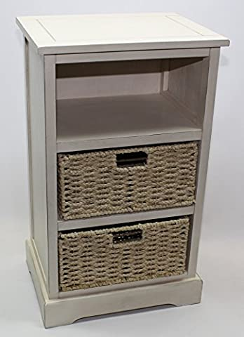 Home Source - White Tall Wooden Shabby Chic Wicker Cabinet
