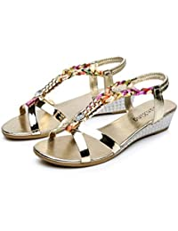 CLEARANCE SALE MEIbax sommer strass frauen flache sandalen für frauen mode casual sandalen komfortable strand schuhe (38, Gold)