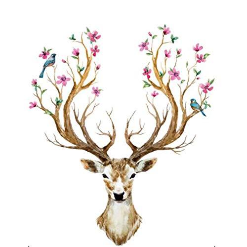 iTemer. 1 Pieza Creativa Exquisita decoración del hogar Pegatina sofá Fondo Pared Pintura Vinilo Ciervo Sika 97cm*80.5cm