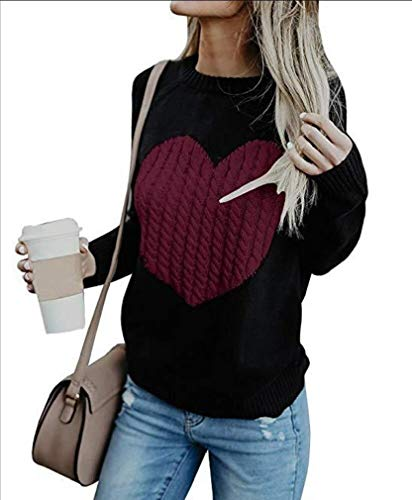 CuteRose Womens Casual Knit Jumper Cute Heart Plus Size Pullover Sweater Tops Wine Red M (Wrap Sweater Knit Top)